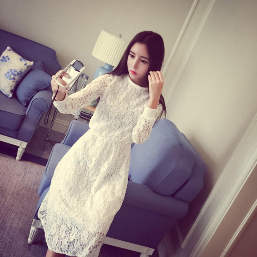 (黑.白)長袖蕾絲連衣裙內搭長款純色打底A字裙