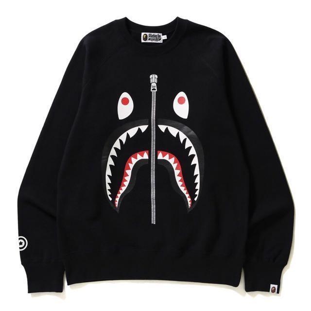 A Bathing Bape Ape shark 鯊魚 大學T 厚長T 長袖上衣 黑色