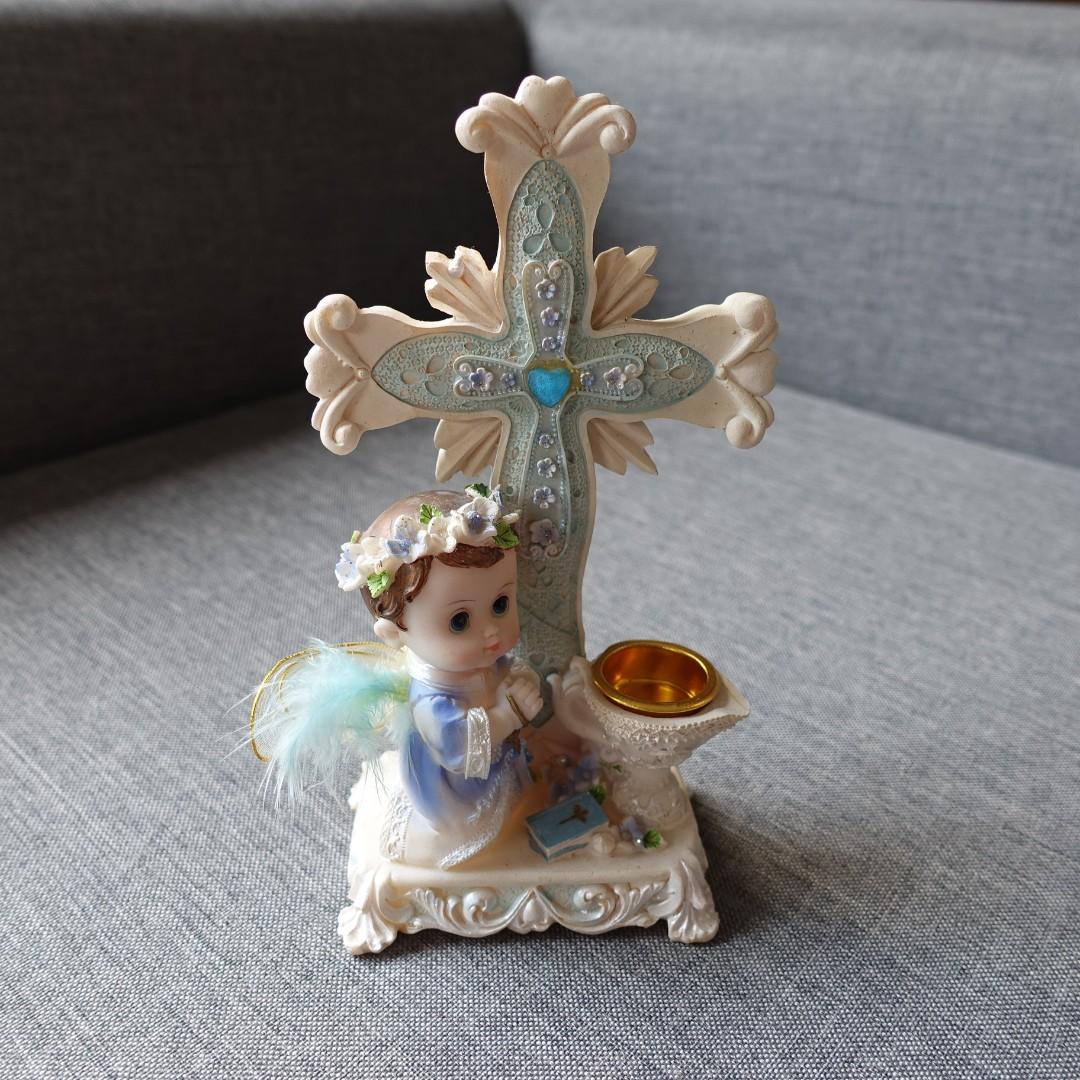 Angel with Cross Figurine