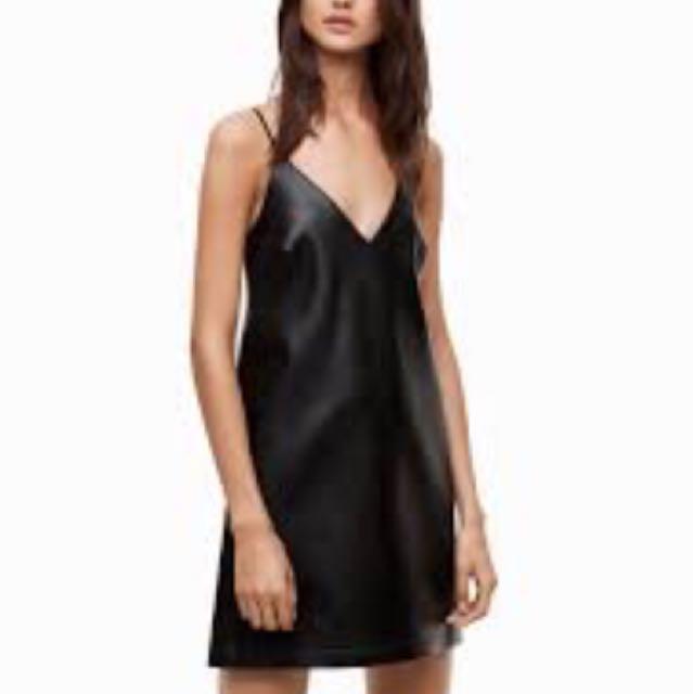 Aritzia talula slip mini vegan leather dress xxs