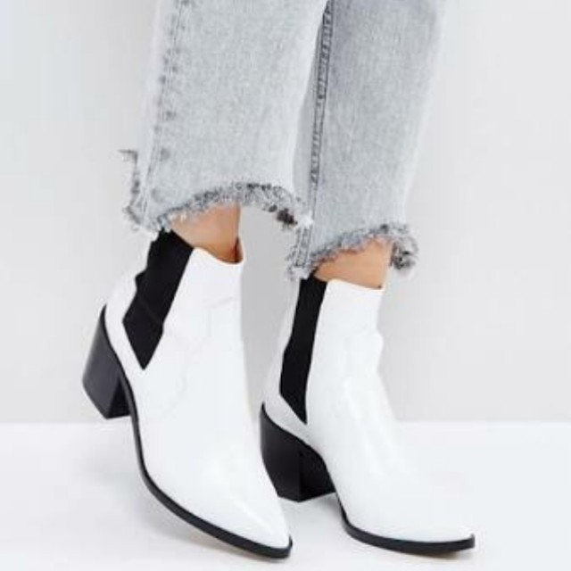 ASOS Chelsea White Leather Boots