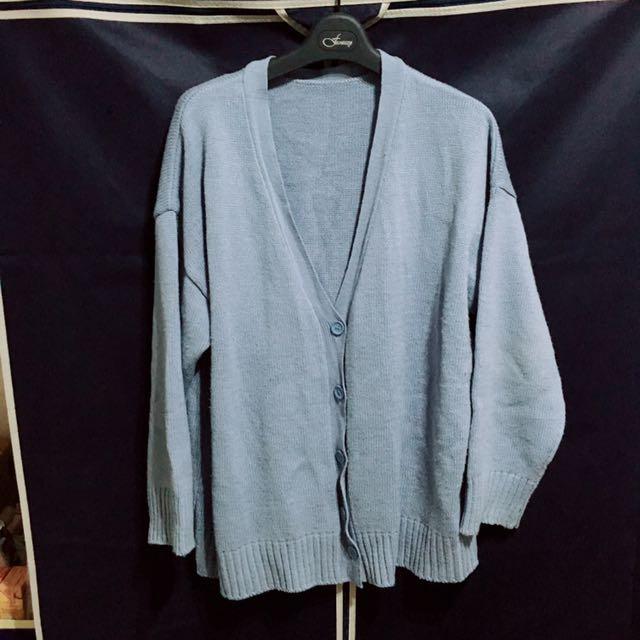 baby藍針織毛衣外套