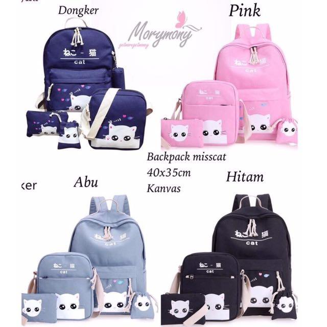 Backpack 4in1 Cat Lovers Murah - Tas Wanita Lucu - Ransel 4in1 - Tad Punggung Sekolah - Tas Batam - Tas Branded - Tas Bukan Import