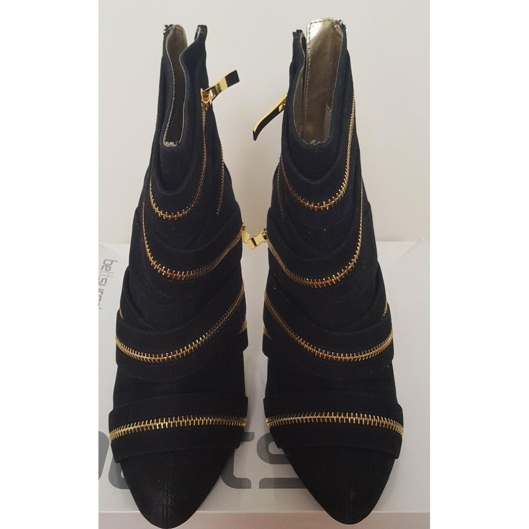 Betts Zip Code Black Gold Zipper Boots Heels Billini Windsor Smith Showpo - size 7 worn once new with box