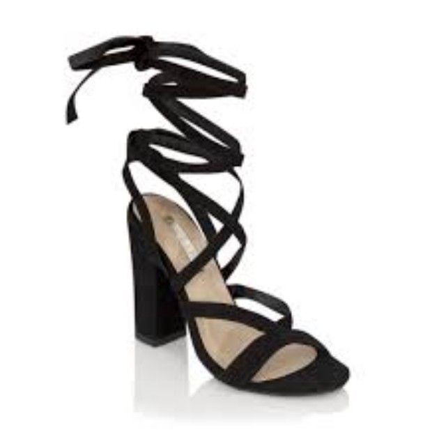 Billini Black Suede Strap Heels Size 8