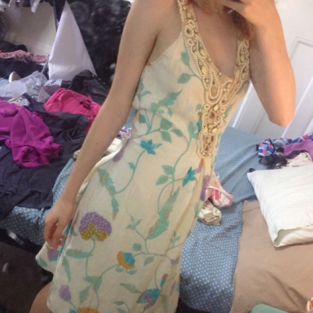 c378e080637 BINNY CREAM SUNDRESS WITH BLUE AND YELLOW FLOWERS BEADED FRONT PIECE ...