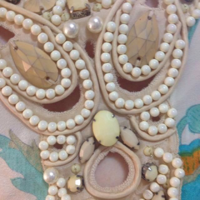 c0367f01f46 BINNY CREAM SUNDRESS WITH BLUE AND YELLOW FLOWERS BEADED FRONT PIECE SIZE  8