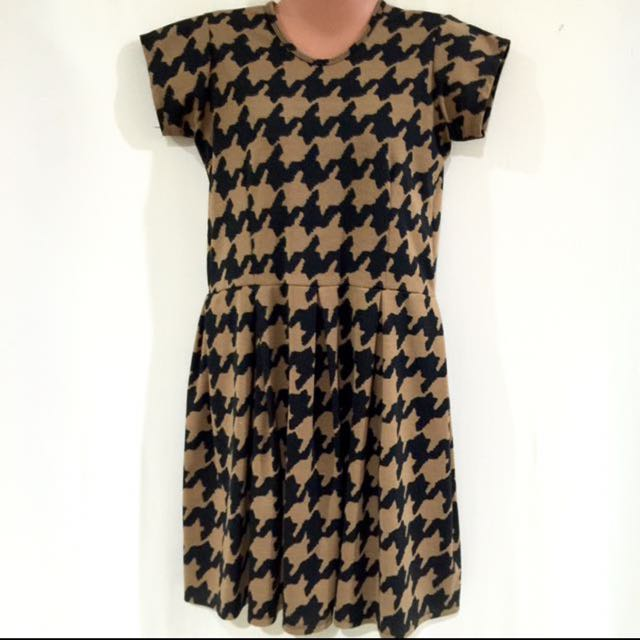 Black & Brown Hounds Tooth Dress