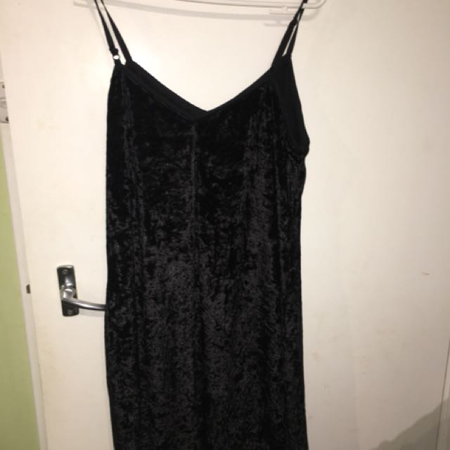 Black Crushed Velvet Slip Dress
