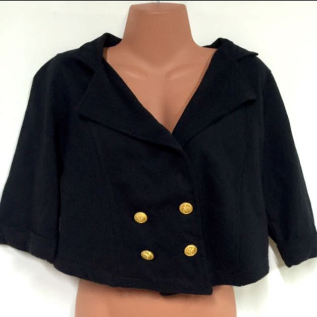 Black Double Breasted Miltary Cropped Jacket