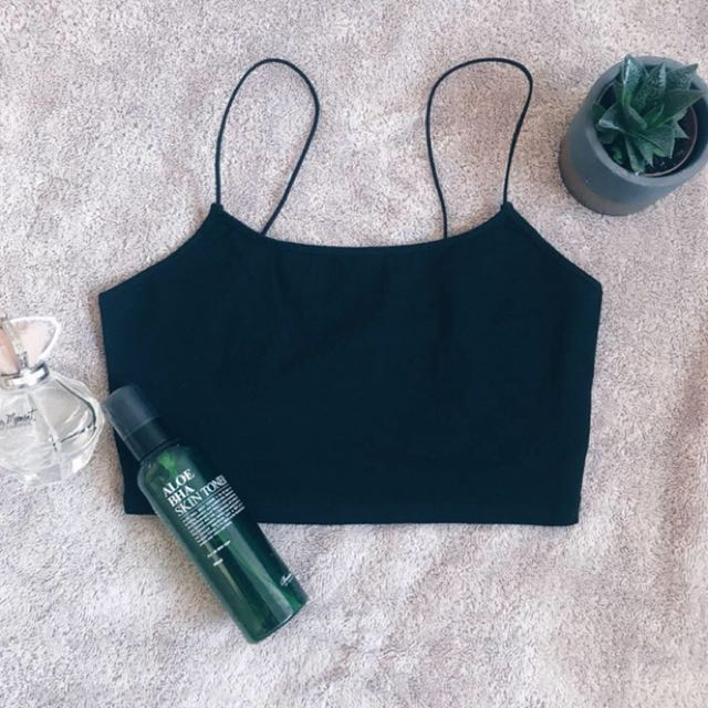 Black spaghetti strap tank top