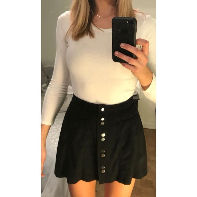 Black suede front button skirt from Zara