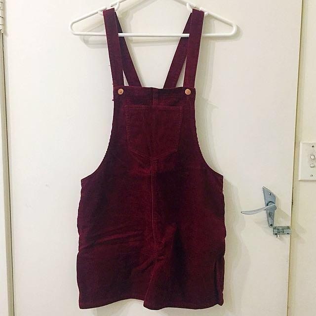 BNWOT Forever21 Maroon Corduroy Overalls Skirt