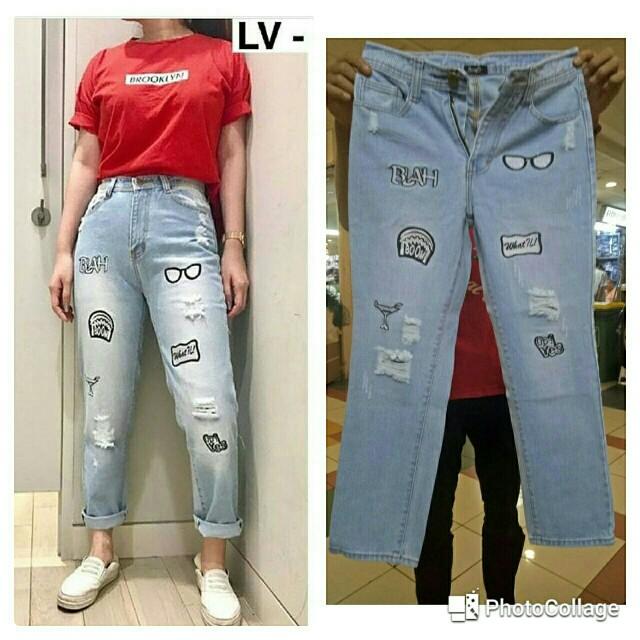 Bo. Z1 Boyfriend Bordir 705 135.000 Jeans non stretch ..normal size 27-30..bordir..tidak tembus