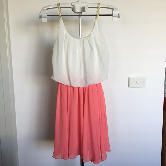 BRAND NEW White/Peach With Lace Details Dress