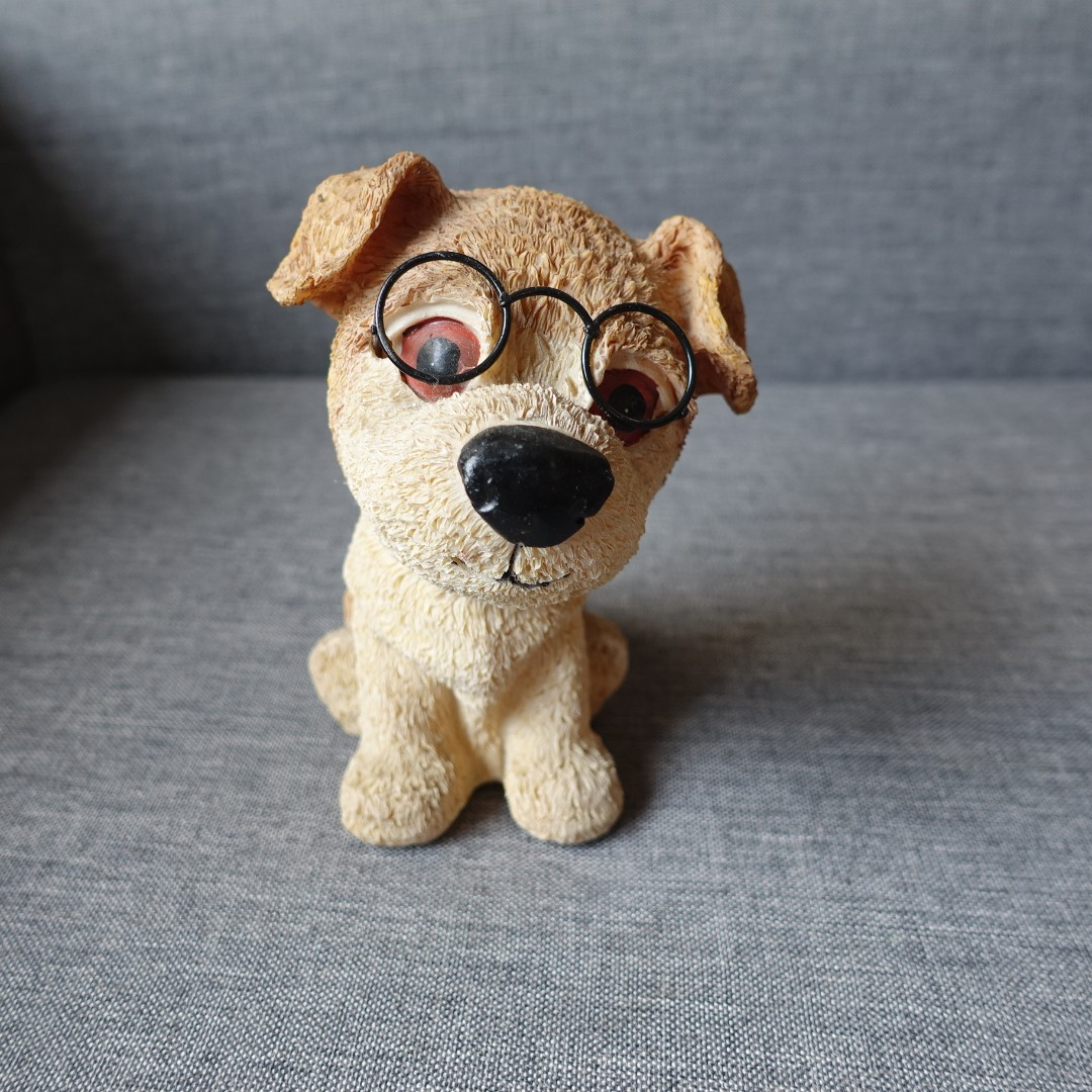 Brown Dog Figurine with Glasses