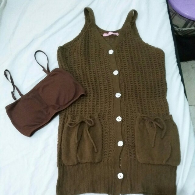 Brown knitted over all with free brown padded tube brassiere