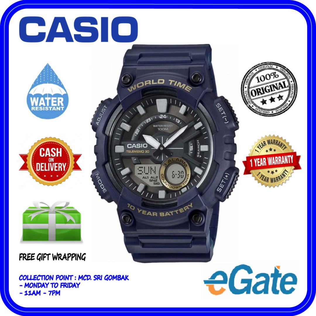 8b961522951 Casio AEQ-110W-2AV Men Analog Digital Blue Strap World Time Original ...