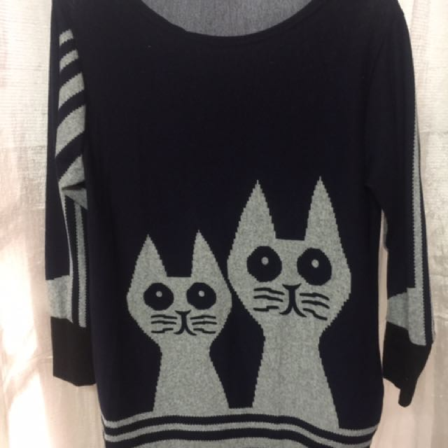Cat Dress with Long Sleeves - Fits up to Large - Stretchy Fabric