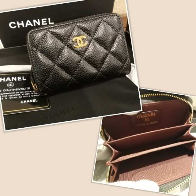 全新Chanel coco 雙cc 零錢包 , 卡夾 , O coin purse A69271 荔枝紋金釦迷你