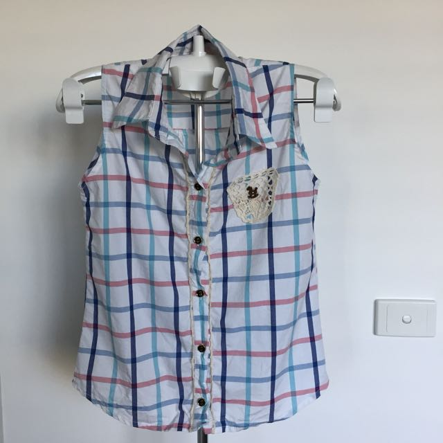 Checked Blue or Pink Sleeveless Shirt