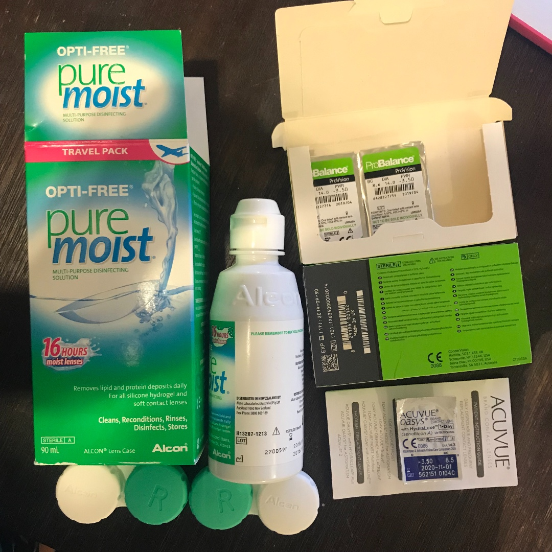 Contact lenses -3.5 monthly, daily, + solution + more