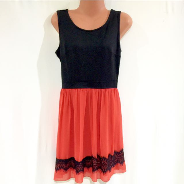 Coral & Black Laced Dress