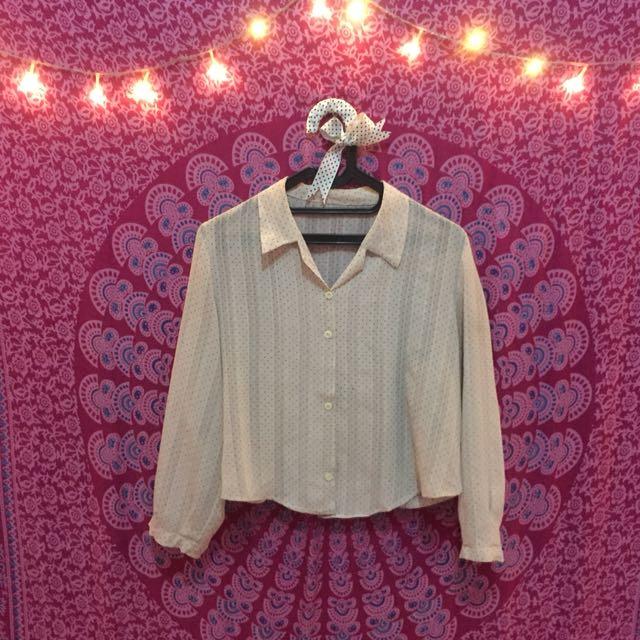crop polka shirt pink