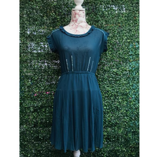 Dark Green Pleated Dress