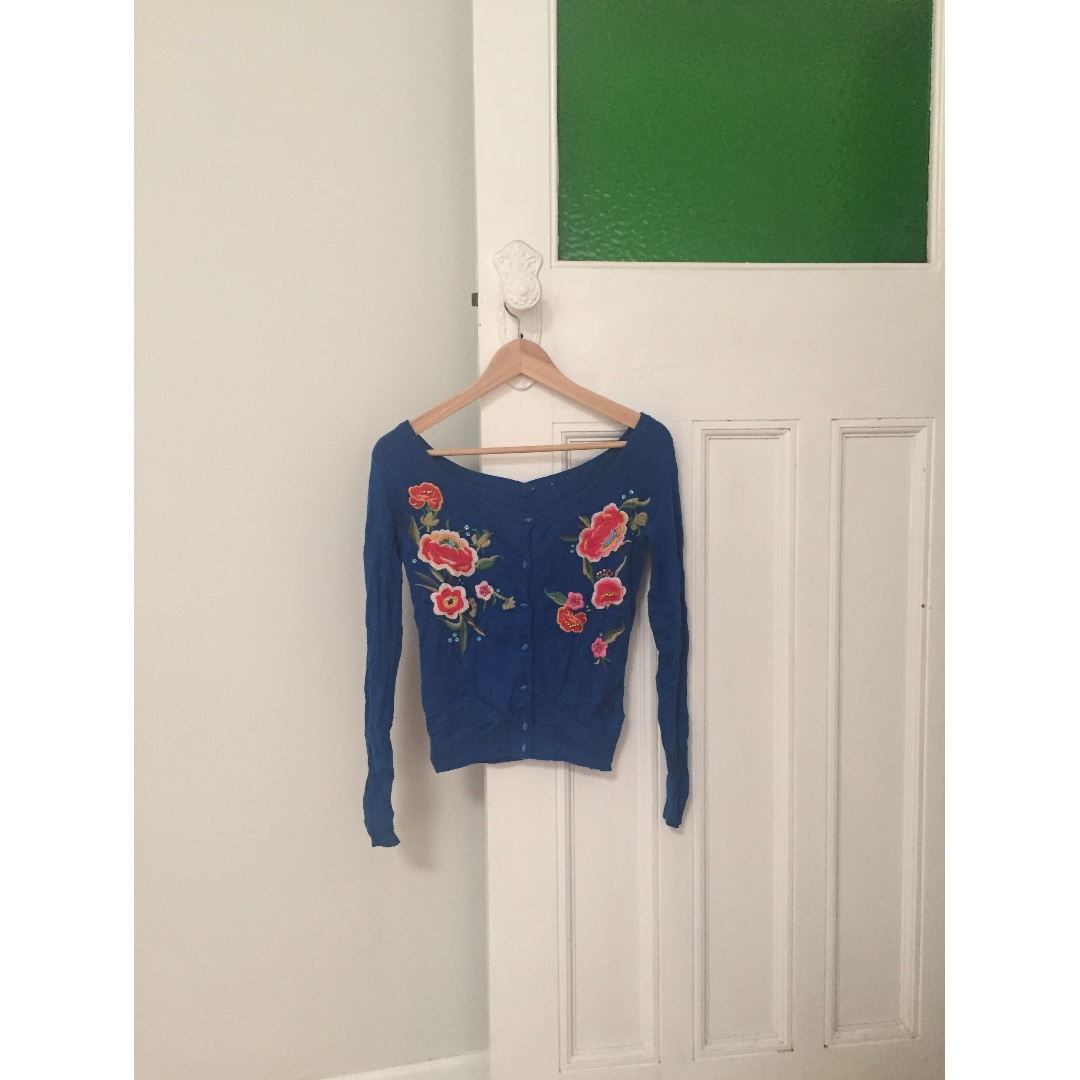 Deep Blue Embroidered Off Shoulder Sweater