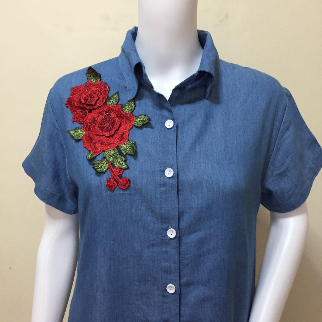 Denim patch dress with pocket