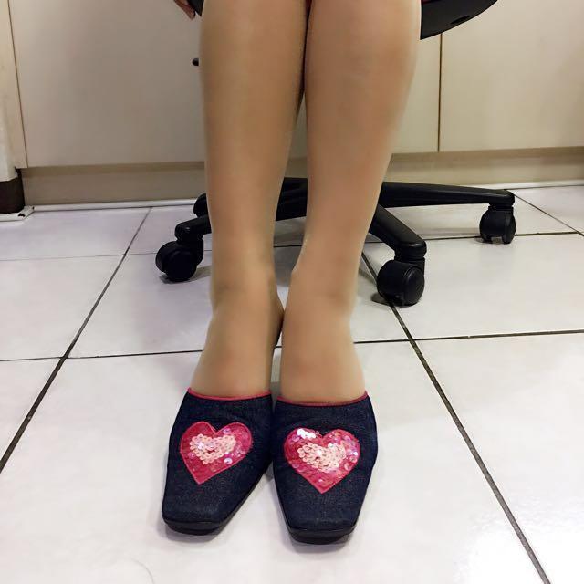 二手Desire paris愛心亮片丹寧涼鞋