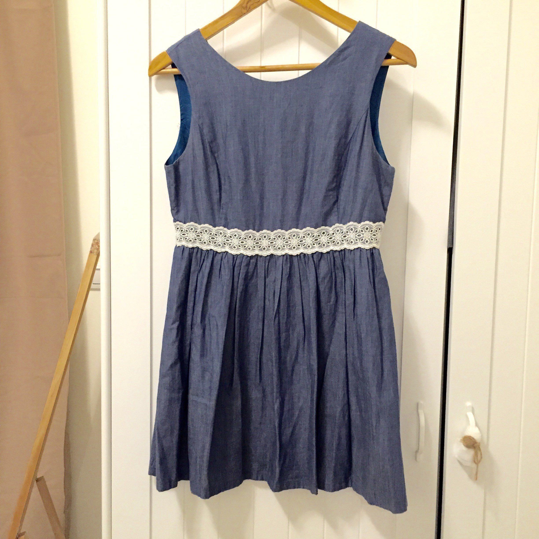 Dressy Daisy 牛仔藍蕾絲鑲腰無袖短洋裝 原價約2500元 九成新 購於新光三越台北南西店 店到店免運