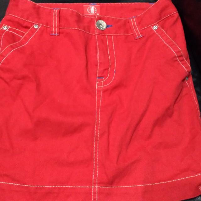 EMA紅色牛仔裙短裙