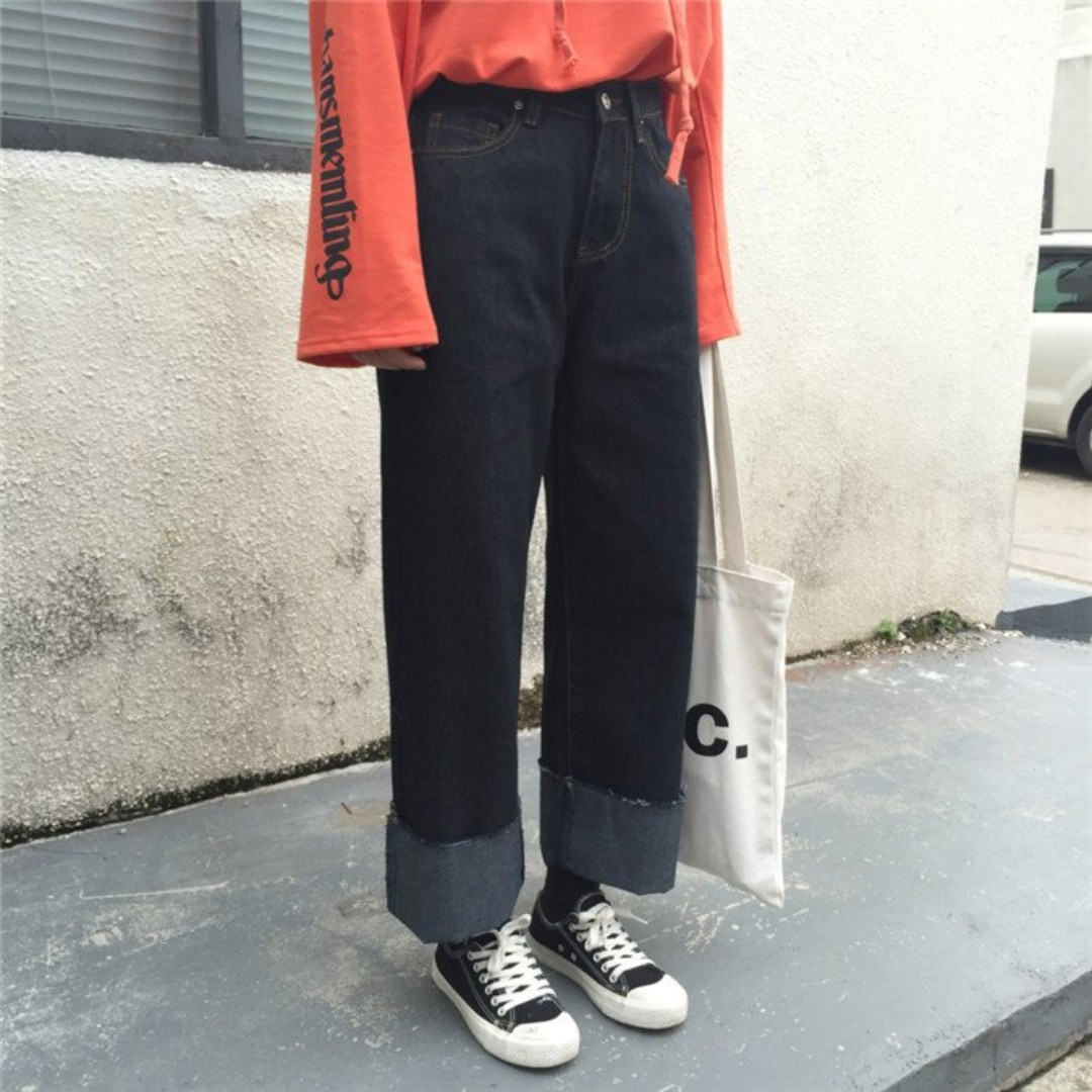 (私)二手 街頭深色抽鬚反折牛仔寬褲