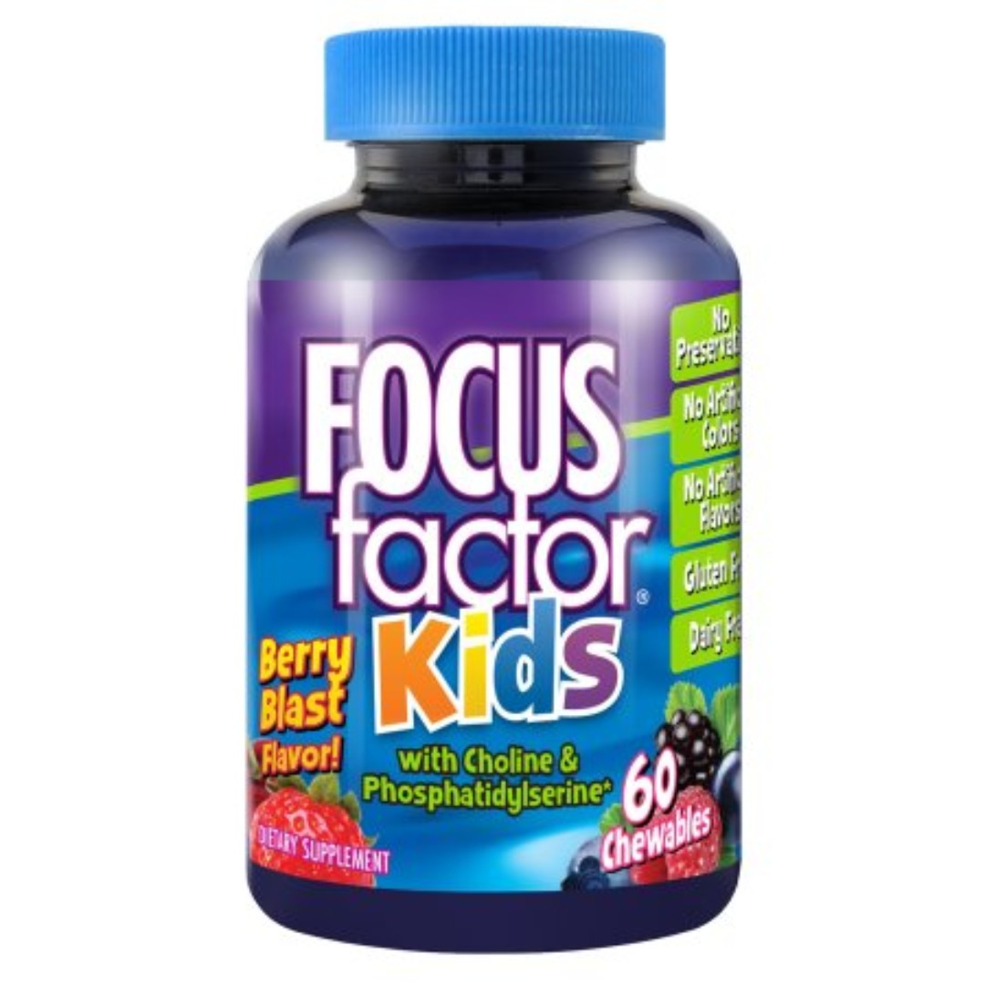 Factor Nutrition Labs Focus Factor for Kids, Berry Blast, 60-Chewable Wafers Bottle