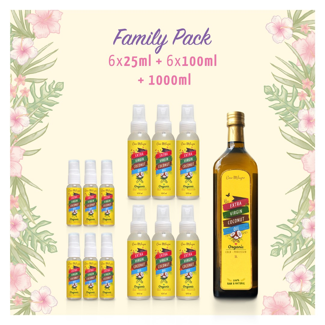 FAMILY PACK - VCO COCO MILAGRO (1 LITER + 6 X 100ML + 6 X 25ML)
