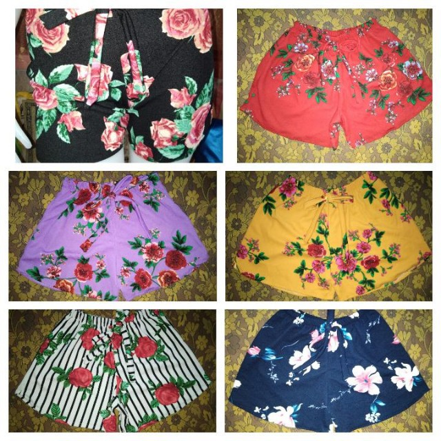 Floral cute shirts with ribbon