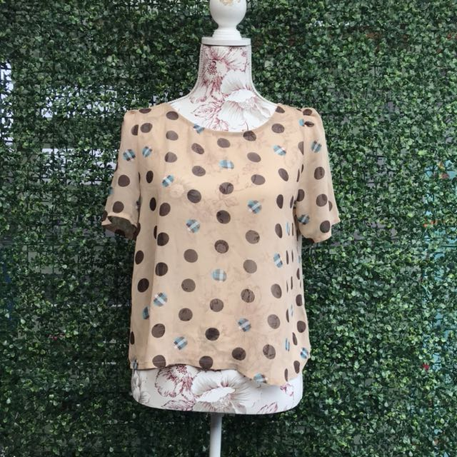 Forever 21 Polka Dot Sheer Top