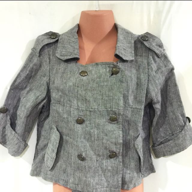 Gray Military Double Breasted Blazer