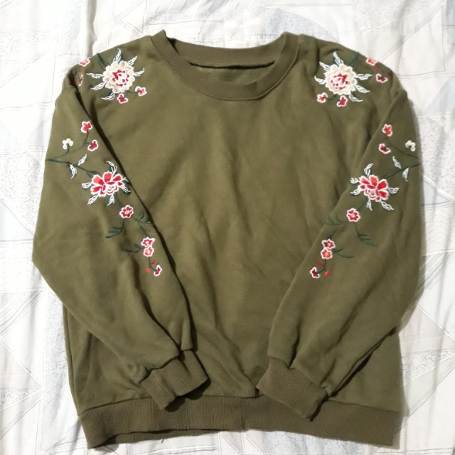 Gucci floral insp. Olive green sweater