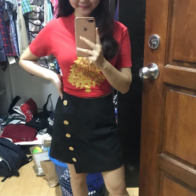 Haoduoyi asymmetric buttons skirt #midjan55