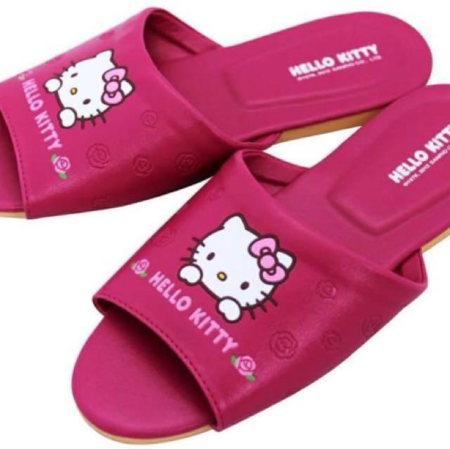 三麗鷗HELLO KITTT凱蒂貓玫瑰兒童款大人款室內拖鞋 皮拖