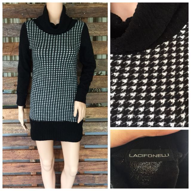Houndstooth Pattern Knit Dress Preloved Womens Fashion Clothes On