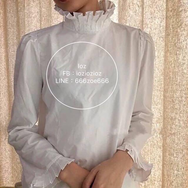 ioz 原創 法式復古立領公主袖襯衣 白