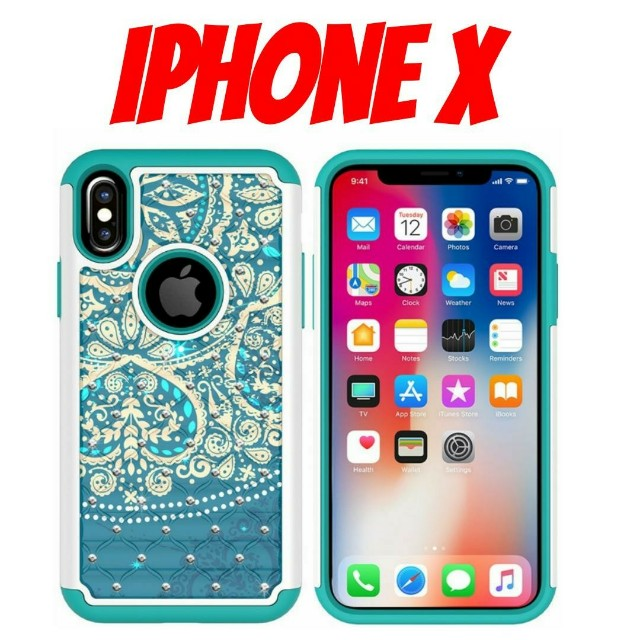 iPhone X Blue Heart Mandala Hybrid Case