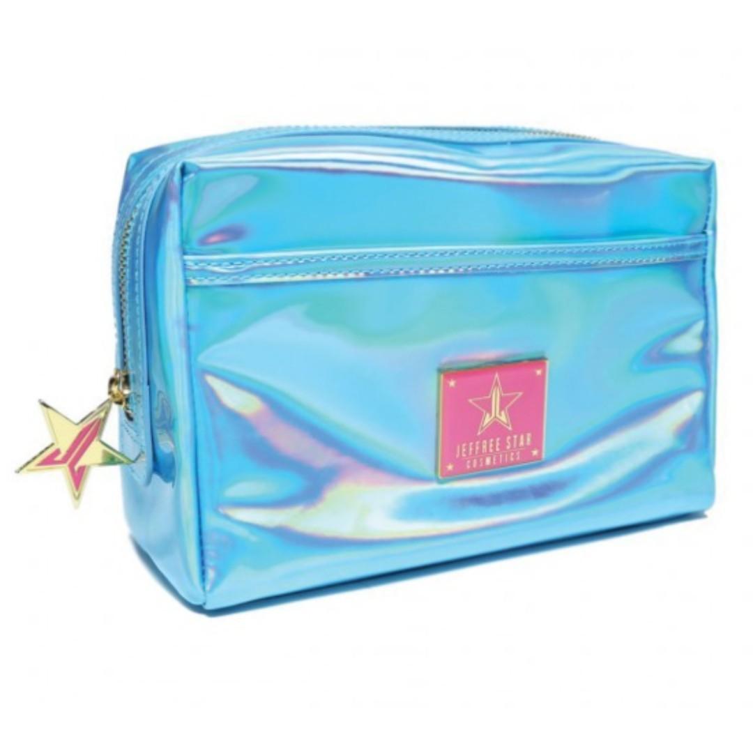 JEFFREE STAR HOLOGRAPHIC BLUE MAKEUP BAG