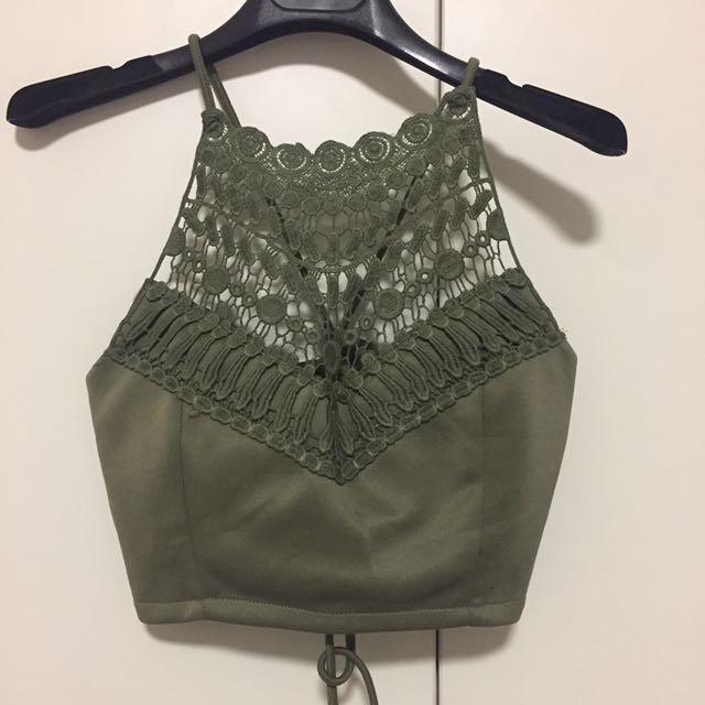 Khaki lace Crop