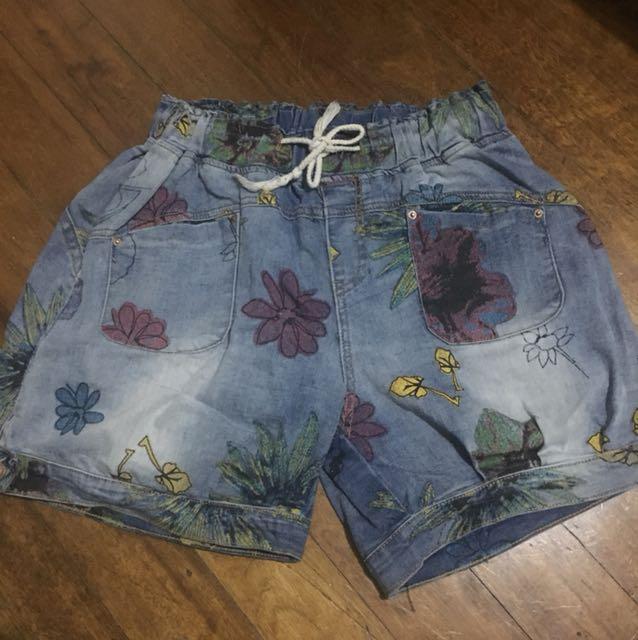 Korean Maong Floral Shorts