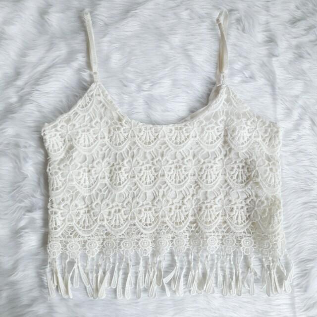 Boho Lace tassel crop top